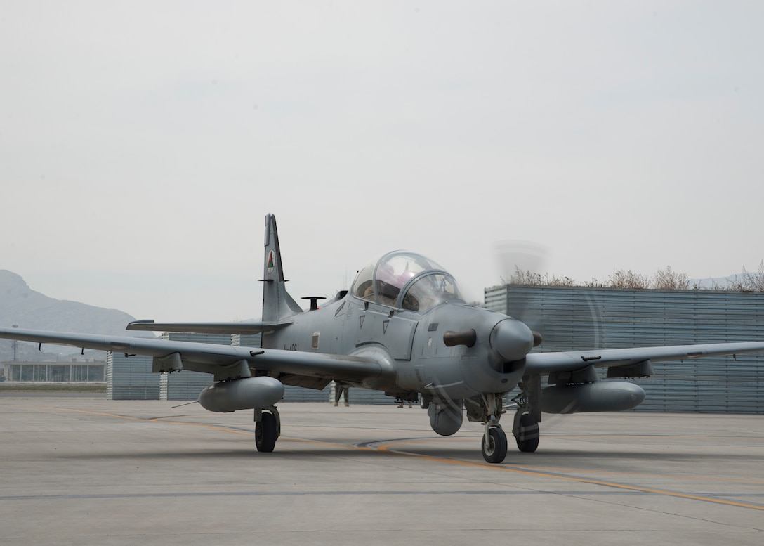 An Afghan Air Force A-29 taxis to a parking spot March 6, 2018, Kabul Air Wing, Afghanistan. The A-29 is highly maneuverable, and capable of operating in austere environments and rugged terrain. (U.S. Air Force photo by Staff Sgt. Jared J. Duhon)