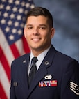 Tech. Sgt. Nicholas Riley, vehicle operations and ground transportation, 158th Fighter Wing, poses for an official photograph.