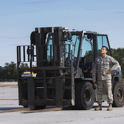 Tech. Sgt. Nicholas Riley, vehicle operations and ground transportation, 158th Fighter Wing.
