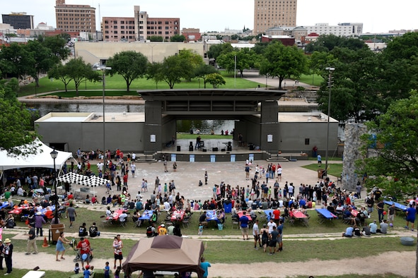 A crowd of Goodfellow members and their families attend Goodfellow Appreciation Day event at the Bill Aylor Sr. Memorial RiverStage in San Angelo, Texas, May 19, 2018. This marked the 13th year that the event has taken place and this provides the city of San Angelo an opportunity to demonstrate how they appreciate Goodfellow Air Force Base and the Armed Forces. (U.S. Air Force photo by Airman 1st Class Zachary Chapman/Released)