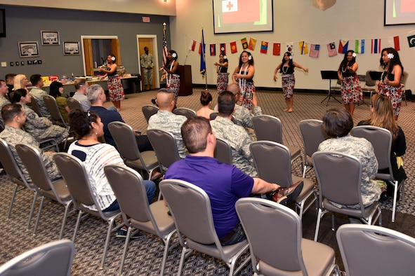Goodfellow members perform a ceremonial dance during the Asian American and Pacific Islanders heritage event at the Event Center on Goodfellow Air Force Base, Texas, May 18, 2018. The event showcased performances from countries such as Samoa, China, Tonga, Japan, Vietnam, Korea and the Philippines. (U.S. Air Force photo by Senior Airman Randall Moose/Released)