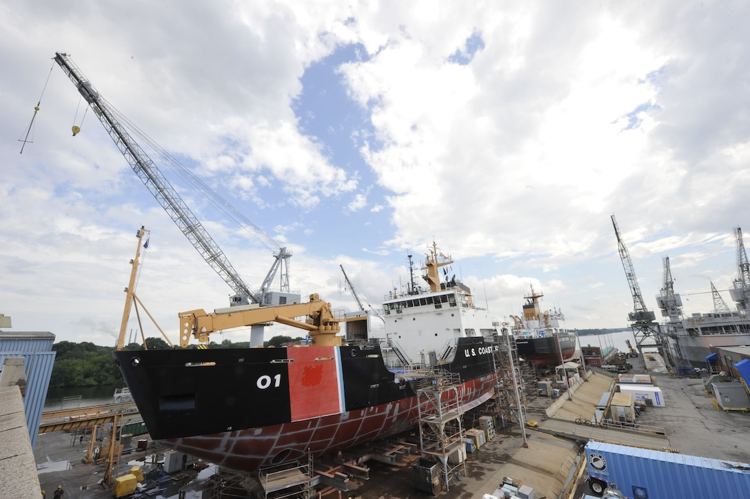 Coast Guard Cutters Juniper (foreground) and Hollyhock are shown at dry dock at the Coast Guard Yard facilities in Baltimore, Aug. 1, 2013. The Yard is the service's sole shipbuilding and major repair facility, and an essential part of the Coast Guard's core industrial base and fleet support operations.