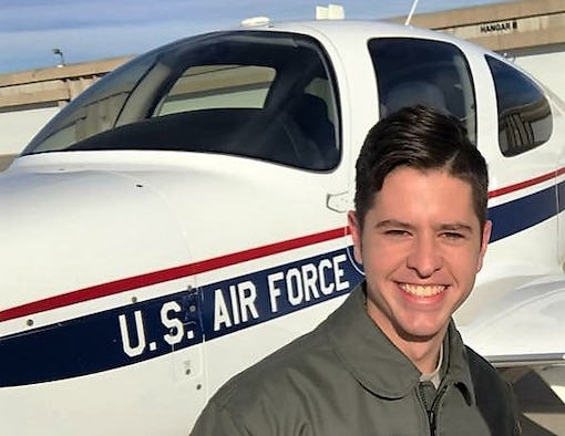 Cadet 2nd Class Joseph Mull celebrates his solo flight in the T-53A - celebrating with him and capturing the moment was his cadet sponsor Maj. Sean O'Malley, 70th Flying Training Group, and 557th Flying Training Squadron Chief of Pilot Instructor Training. (U.S. Air Force photos courtesy of the O'Malley family).