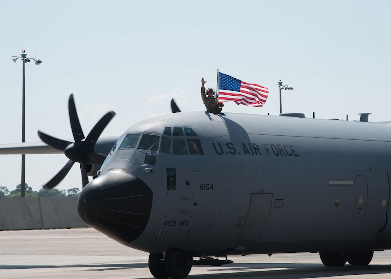 Air Force reservists with the 403rd Wing, Keesler Air Force Base, Mississippi, and C-130J Super Hercules flown by the wing's 815th Airlift Squadron returned from a deployment to Southwest Asia in support of Operations Freedom Sentinel and Inherent Resolve. (U.S. Air Force photo/Maj. Marnee A.C. Losurdo)