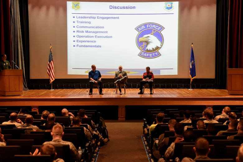 From left, Brian Minnick, Envoy Airlines safety director, Tim Lomakin, Dumount Charter Air director of operations, and Kerry Hitt, TransAm Racing Series car owner and driver, participate in a panel discussion May 18, 2018, during an operational safety review day at Dover Air Force Base, Del. Team Dover invited these civilian sector safety experts to get a corporate perspective on safety. (U.S. Air Force photo by Airman 1st Class Zoe M. Wockenfuss)