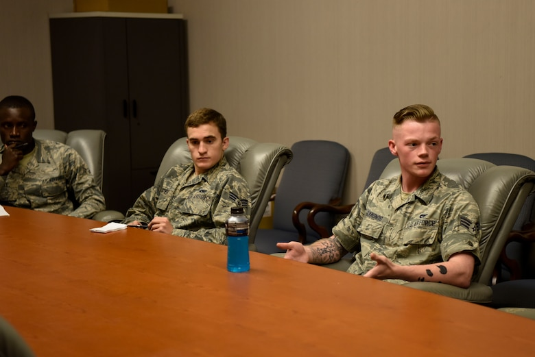 Senior Airman Atticus Hammonds (right), 436th Aerial Port Squadron traffic management specialist, participates in one of several break-out sessions during an operational safety review day May 18, 2018, at Dover Air Force Base, Del. During these sessions, Airmen discussed gaps and seams in current practices that may lead to future mishaps. (U.S. Air Force photo by Airman 1st Class Zoe M. Wockenfuss)