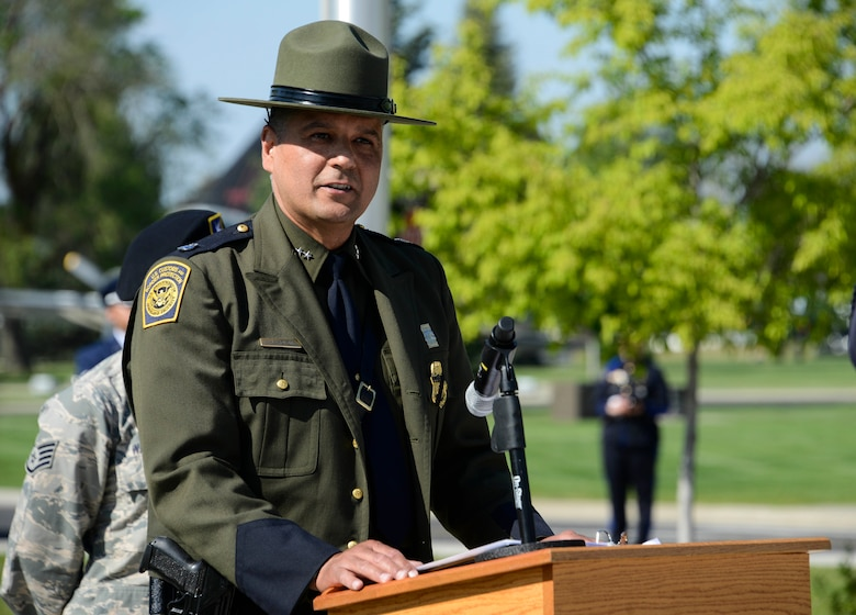Henry Rolon, Spokane Police Department Sector Chief patrol agent, speaks about the importance of Police Week during a National Police Week Memorial Retreat Ceremony at Fairchild Air Force Base, Washington, May 16, 2018.  The retreat is a ceremony during National Police Week to honor fallen law enforcement professionals.