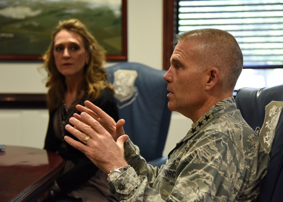 U.S. Air Force Lt. Gen. Steve Kwast, commander of Air Education and Training Command, speaks during a meet and greet session with Keesler's Key Spouses at the 81st Training Wing headquarters building at Keesler Air Force Base, Mississippi, May 18, 2018. The meeting was held to discuss the key spouse program benefits and how to increase involvement. (U.S. Air Force photo by Kemberly Groue)