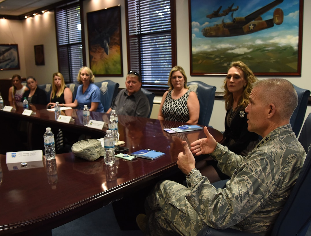 U.S. Air Force Lt. Gen. Steve Kwast, commander of Air Education and Training Command, speaks during a meet and greet session with Keesler's Key Spouss at the 81st Training Wing headquarters building at Keesler Air Force Base, Mississippi, May 18, 2018. The meeting was held to discuss the key spouse program benefits and how to increase involvement. (U.S. Air Force photo by Kemberly Groue)