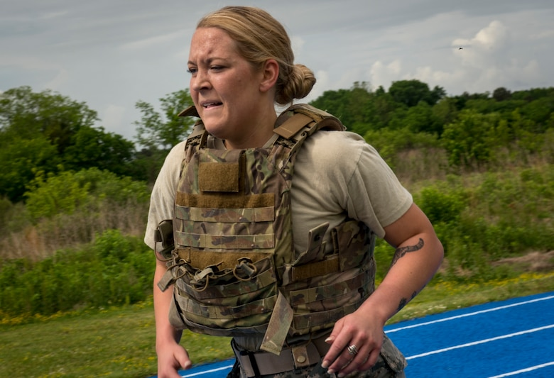 U.S. Air Force Airman 1st Class Brooklyn Barrick, 633rd Security Forces Squadron installation entry controller, competes in the National Police Week Defenders' Challenge at Joint Base Langley-Eustis, Virginia, May 16, 2018.