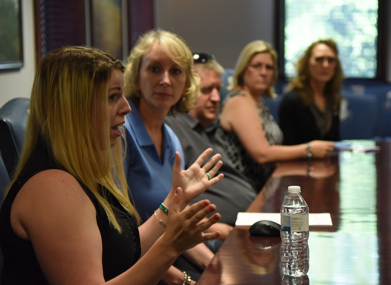 Erin Beihl, spouse of U.S. Air Force Senior Airman Travis Beihl, 81st Training Wing photojournalist, speaks during a meet and greet session with Keesler's Key Spouses at the 81st Training Wing headquarters building at Keesler Air Force Base, Mississippi, May 18, 2018. The meeting was held to discuss the key spouse program benefits and how to increase involvement. (U.S. Air Force photo by Kemberly Groue)