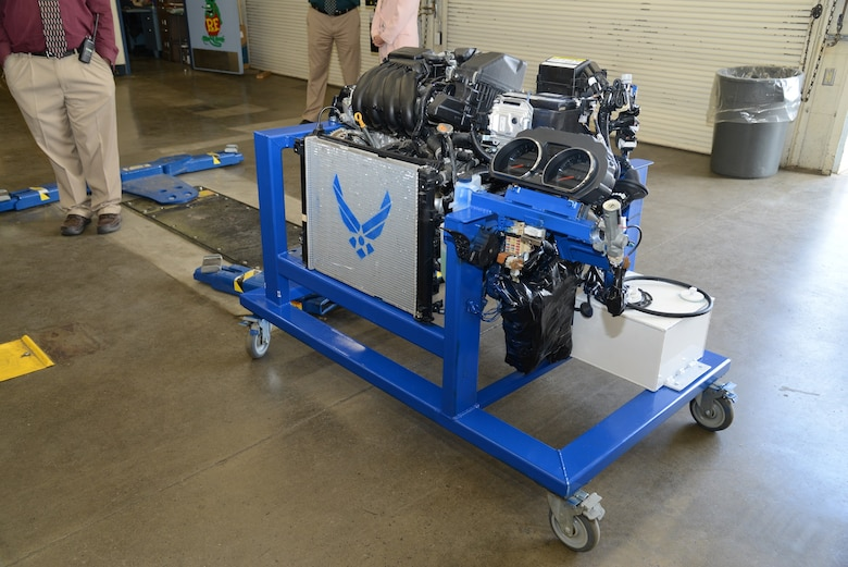 The Lancaster, California, Air Force recruiting office spearheaded the donation of a new 2018 Nissan Leaf engine, which was introduced during a small ceremony at the school May 21. (U.S. Air Force photo by Kenji Thuloweit)