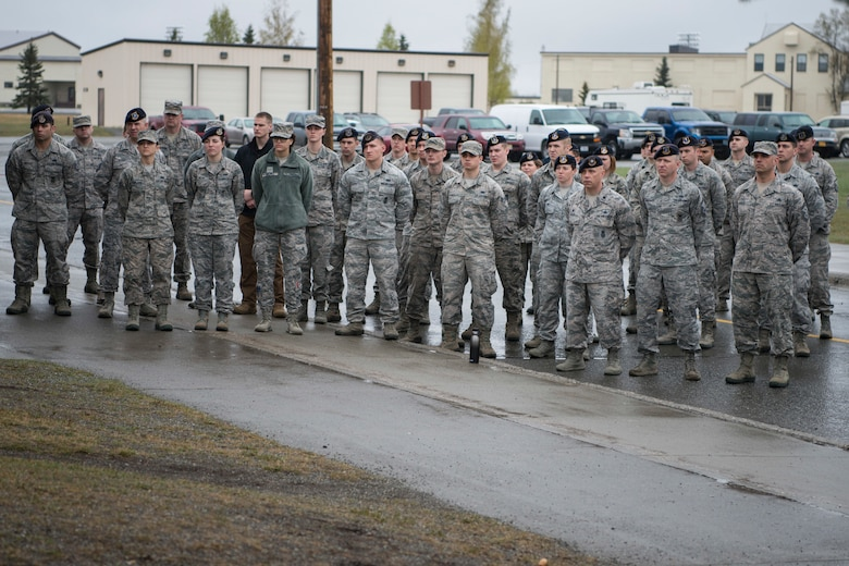 Members of the 673d Security Forces Squadron conclude Police Week with a closing ceremony, at Joint Base Elmendorf-Richardson, Alaska, May 18, 2018. National Police Week is a congressionally honored week for law enforcement personnel across the nation and around the world who have made the ultimate sacrifice in the line of duty.