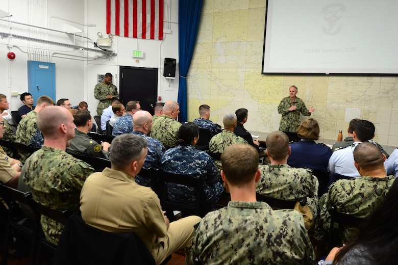 YOKOSUKA, Japan (May 21, 2018) Vice Adm. Phil Sawyer, commander, U.S. 7th Fleet, delivers opening remarks to audience members at a fleet scheduling conference onboard Commander, Fleet Activity Yokosuka.