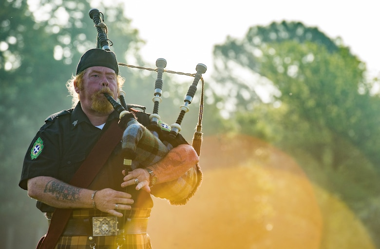 Tim Macleod, ceremonial bagpipes player, performs during the National Police Week opening ceremony at Joint Base Langley-Eustis, Virginia, May 14, 2018.
