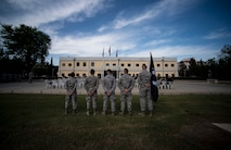 Airmen stand ready during a retreat ceremony