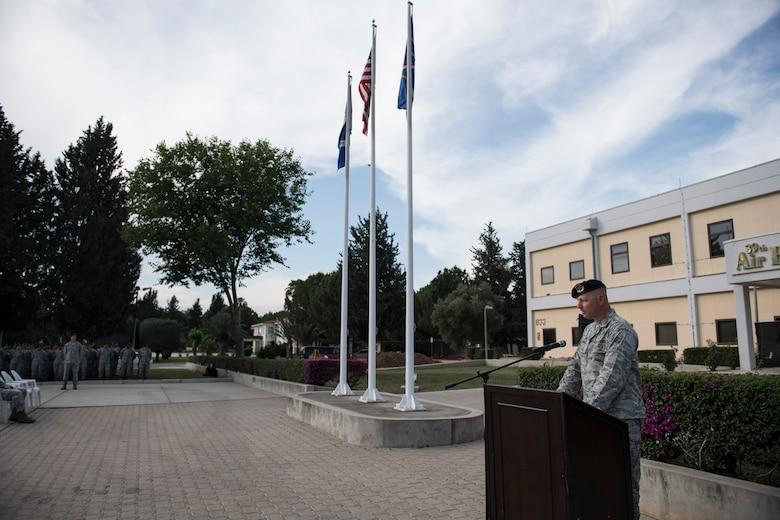 U.S. Air Force Commander speaking at retreat ceremoy