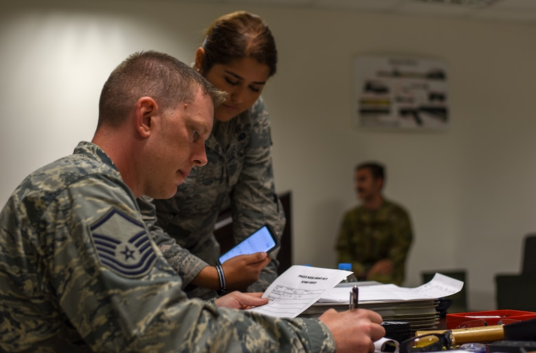 Airmen calculate the scores of the firing competition.