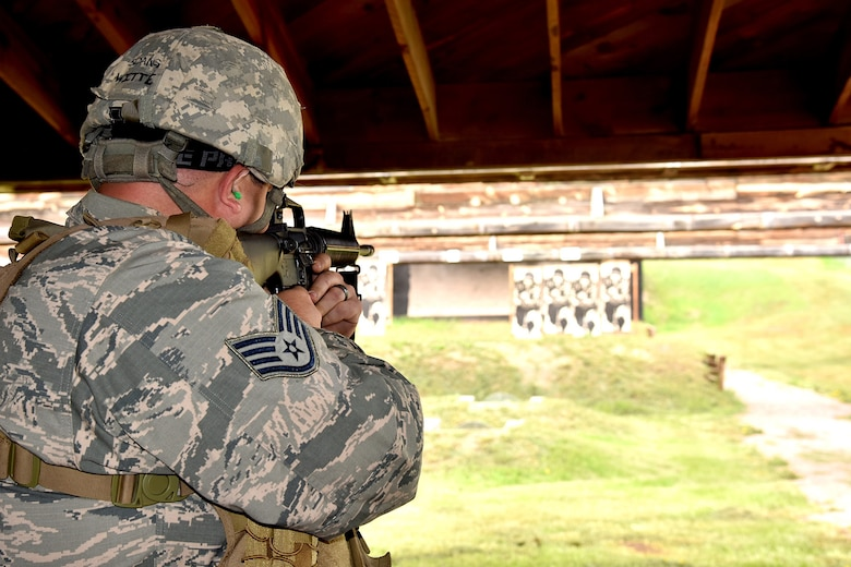 Staff Sgt. Adam Witte, 114th Maintenance Squadron electronic countermeasures technician, participates in The State Command Sergeant Major's Outdoor Match May 18, 2018 at Camp Rapid, S.D.