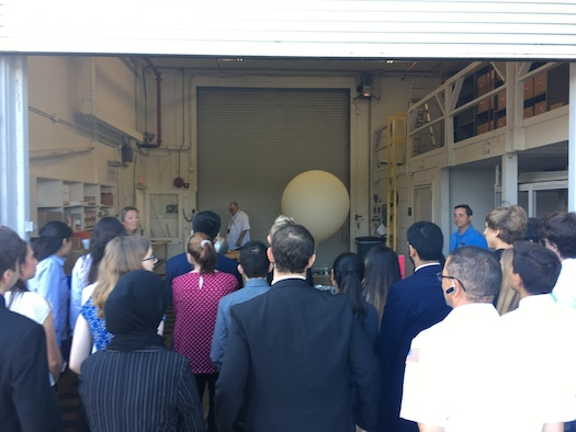 Students from Lake Nona High School attend a briefing from the 45th Weather Squadron, April 27, 2018 at Cape Canaveral Air Force Station, Fla. Students from Lake Nona High School have collaborated in research with the 45th Weather Squadron for three years. (U.S. Air Force photo by 45th Space Wing Public Affairs)