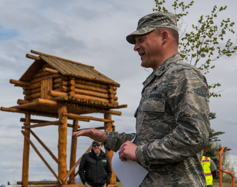 U.S. Air Force Col. George T.M. Dietrich III, 673d Air Base Wing and Joint Base Elmendorf-Richardson commander, speaks to attendees at a tree-planting ceremony at JBER, Alaska, May 17, 2018. The Arbor Day Foundation recently named JBER a 2017 Tree City USA, an honor the base has earned for 21 years running. JBER achieved Tree City USA recognition by meeting four requirements: convening a tree board, instituting a tree-care policy, having an annual forestry budget of at least $2 per capita, and hosting an Arbor Day observance.