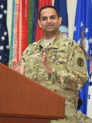 Guest speaker Maj. Anish Patel, Medical Director of the Inflammatory Bowel Disease Clinic at Brooke Army Medical Center, reflected on his family's experiences immigrating to the United States, growing up as an Indian American, and his experience as a physician in the U.S. Army.