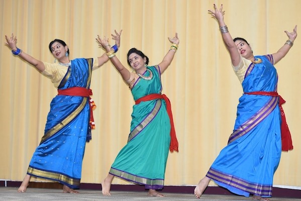 Sonali Sarkar, Saheli Datta and Pampa Bhattacharya performing a dance from the state of West Bengal at the Asian American and Pacific Islander Heritage Month Commemoration for Joint Base San Antonio at Blesse Auditorium at JBSA-Fort Sam Houston May 22.