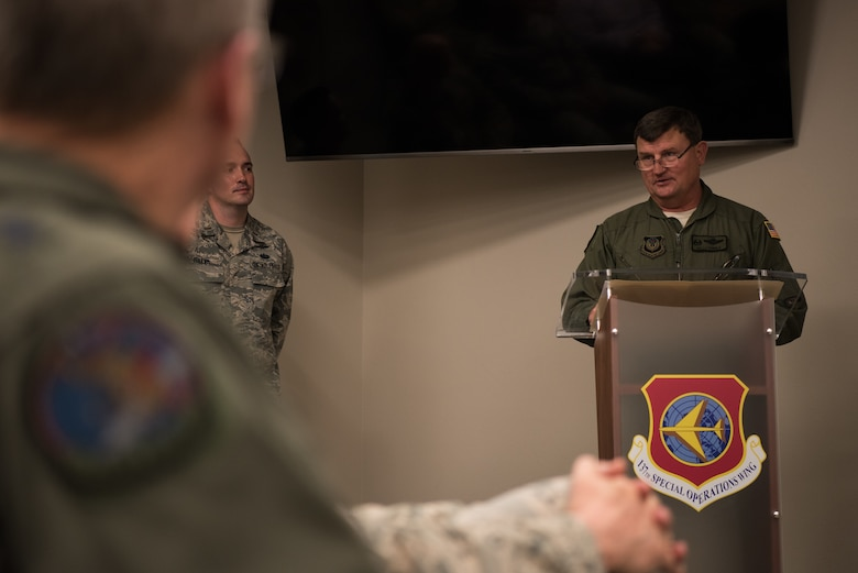 """Col. Kelly W. Cobble, exiting commander of the 137th Special Operations Group, speaks to attendees of the Group's change of command ceremony at Will Rogers Air National Guard Base in Oklahoma City, May 17, 2018. Col. Daniel R. """"Pinto"""" Fowler, formerly the Air National Guard's Advisor to U.S. Air Force Special Operations Command, Hurlbert Field, Fla., assumed command with more than 20 years of military experience, including three years as a Joint Terminal Attack Control qualified Air Liaison Officer and 12 years of flying. (U.S. Air National Guard photo by Staff Sgt. Kasey Phipps)"""