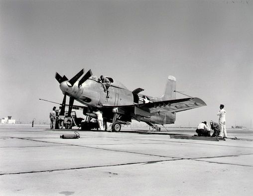 #OTD 26 May 1950 at Edwards - The Douglas XA2D-1 Skyshark, an experimental turboprop-powered version of the company's AD-1 Skyraider, made its first flight, flown by George Jansen. The aircraft's turboprop engine transmitted power to two large counterrotating three-bladed propellers through a complicated gearbox.