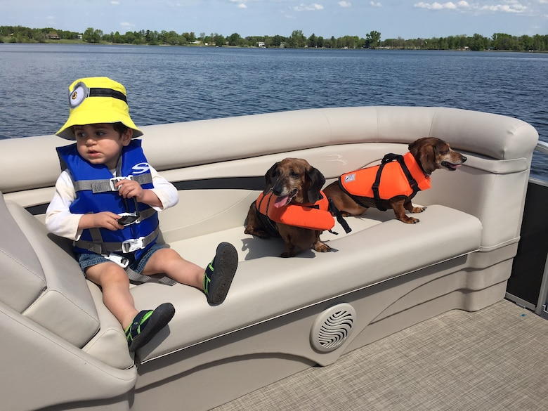 boy and two dogs on boat wearing life jackets