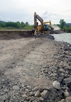USACE contractors conduct emergency repairs May 20, 2018,to stabilize an eroded section of the Heise-Roberts Levee near Lorenzo, Idaho.