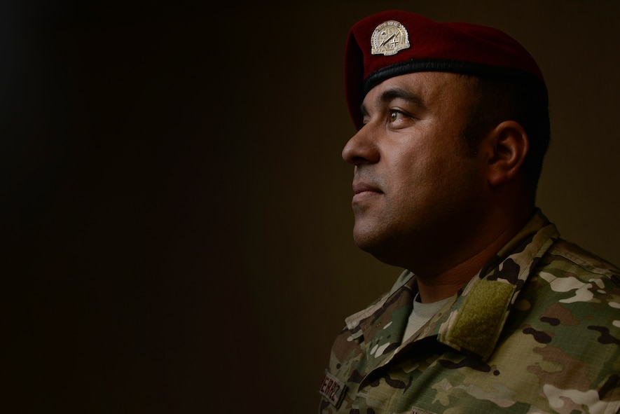 Master Sgt. Robert Gutierrez Jr., Battlefield Airmen Training Group standards, and evaluation, poses for a portrait May 18, 2018 in Laurel, Md.  Gutierrez is a combat controller who was on the team in Afghanistan in 2009 that conducted ad high-risk operations that eventually captured the second most powerful leader of the Taliban in that region. (U.S. Air Force photo by Staff Sgt. Alexandre Montes)