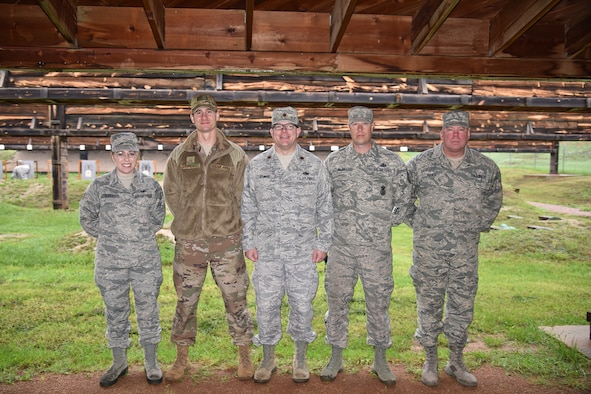 Senior Airman Elizabeth Scott, Master Sgt. Derrick Burkhart, Maj. Justin Aylward, Master Sgt. Jeremy Wajer ad Master Sgt. Dan Ruesch, competed in The State Command Sergeant Major's Outdoor Match May 19, 2018 at Camp Rapid, S.D.