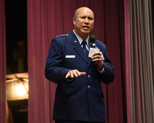 Lt. Gen. GI Tuck, 18th Air Force commander, speaks to Specialized Undergraduate Pilot Training Class 18-09 during their graduation ceremony May 18, 2018, on Columbus Air Force Base, Mississippi. More than half of the 18-09 class will be flying aircraft in Tuck's command. (U.S. Air Force photo by Melissa Dublin)