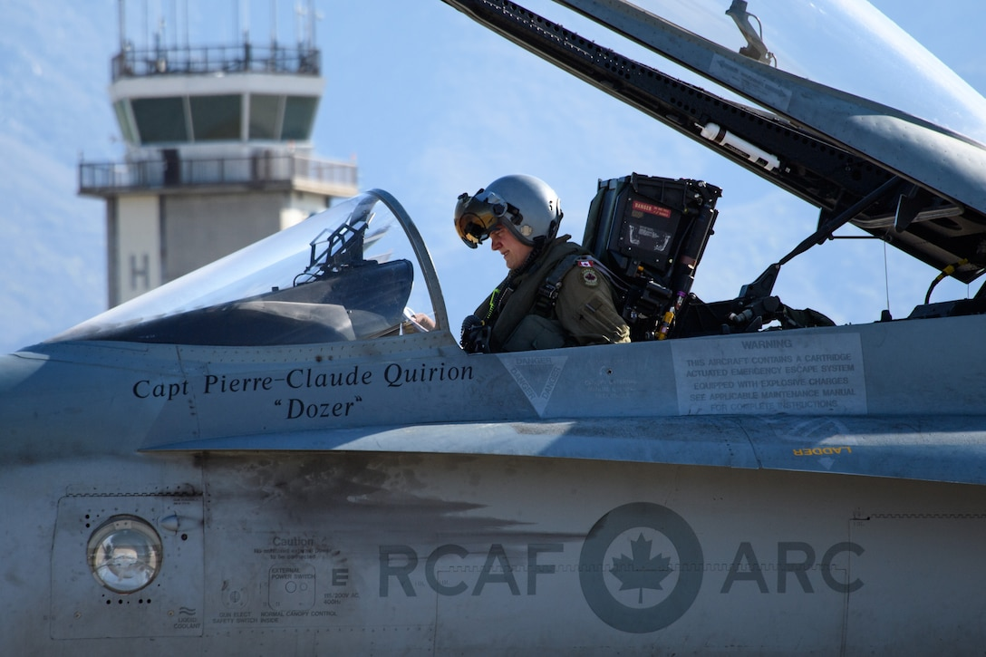 Royal Canadian Air Force pilot Capt. Jason Berndt, assigned to the 433rd Tactical Fighter Squadron, prepares for flight May 3, 2018, Hill Air Force Base, Utah. The Canadian unit participated in a Weapons Evaluation Systems Program, or WSEP, exercise conducted by the 86th Fighter Weapons Squadron, a Hill tenant unit. (U.S. Air Force photo by R. Nial Bradshaw)