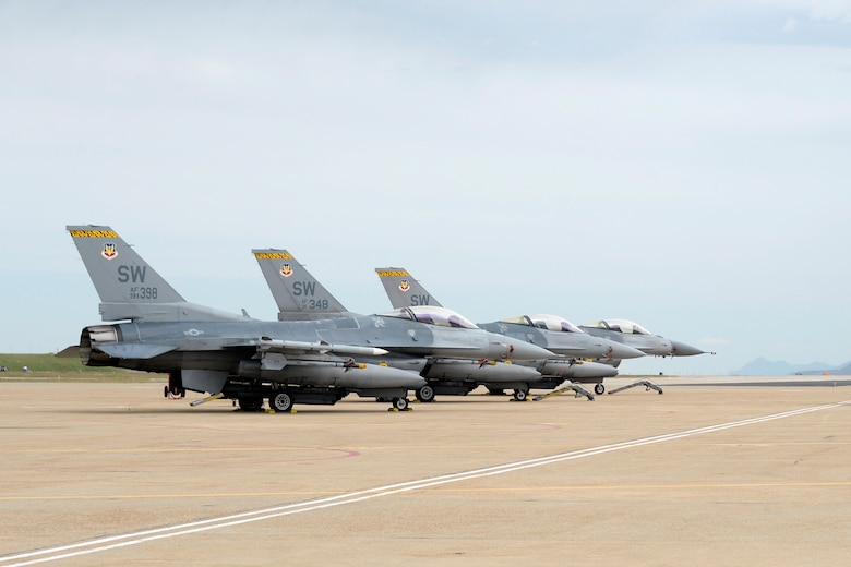 Three F-16's from 79th Fighter Squadron, Shaw Air Force Base, South Carolina, sit on the ramp after returning from a training mission, May 10, 2018, at Hill Air Force Base, Utah. The unit participated in a Weapons System Evaluation Program, or WSEP, exercise conducted by the 86th Fighter Weapons Squadron, a Hill tenant unit. (U.S. Air Force photo by Todd Cromar)