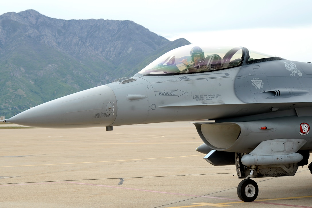 "Major Brian ""Chewy"" Lewis, 79th Fighter Squadron, returns from an F-16 training mission, May 10, 2018, at Hill Air Force Base, Utah. The unit from Shaw Air Force Base, South Carolina, participated in a Weapons System Evaluation Program, or WSEP, exercise conducted by the 86th Fighter Weapons Squadron, a Hill tenant unit. (U.S. Air Force photo by Todd Cromar)"