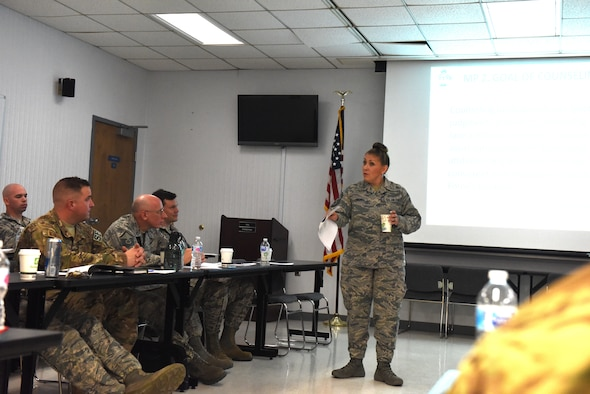 Master Sgt. Dana Pyles, 193rd Mission Support Group first sergeant, listens to Master Sgt. Jose Santiago, 193rd Special Operations Maintenance Group first sergeant, Lt Col Eric McKissick SOMXG deputy group commander, and Chief Master Sgt. Robert Smith, Special Operations Aircraft Maintenance Squadron superintendent talk about the importance of the leadership triad and how they handle issues as a triad, during a 2-day additional duty first sergeant seminar May 1-2, 2018, Middletown, Pennsylvania. The seminar was hosted by 193rd SOW first sergeant council and most briefings were taught by Air Force First Sergeant Academy instructors. (U.S. Air Force Photo by Master Sgt. Culeen Shaffer/Released)