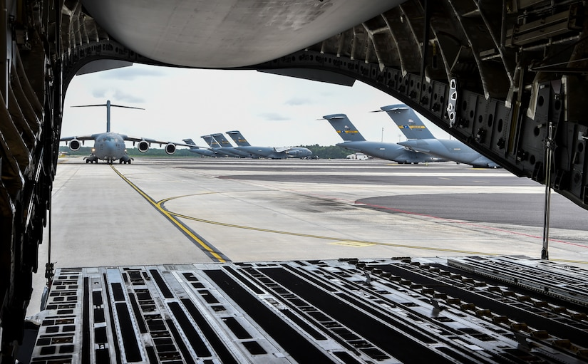 A C-17 Globemaster III taxis after the large formation exercise at Joint Base Charleston, May 22, 2018.