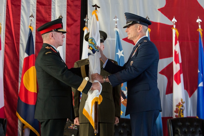 Air Force Gen. Terrence J. O'Shaughnessy assumed command of the North American Aerospace Defense Command and United States Northern Command from Air Force Gen. Lori Robinson during a ceremony held at Peterson Air Force Base today.