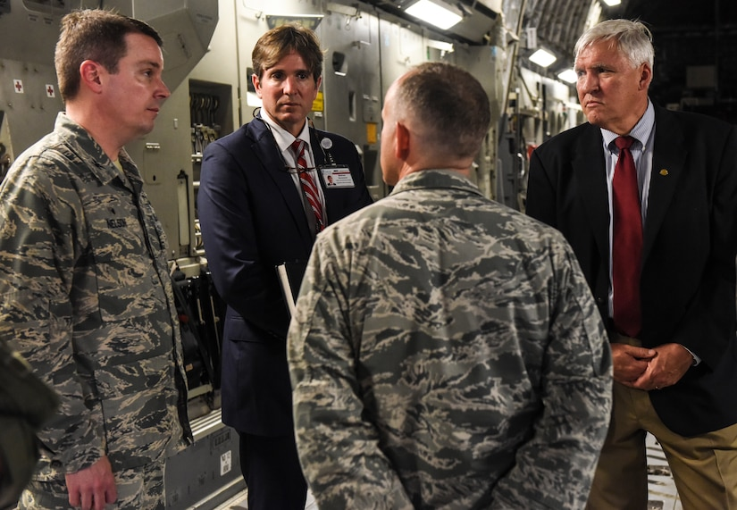 Col. Jeff Nelson, far left, 628th Air Base Wing commander, talks with senior officials from the Medical University of South Carolina May 22, 2018, at Joint Base Charleston, S.C.