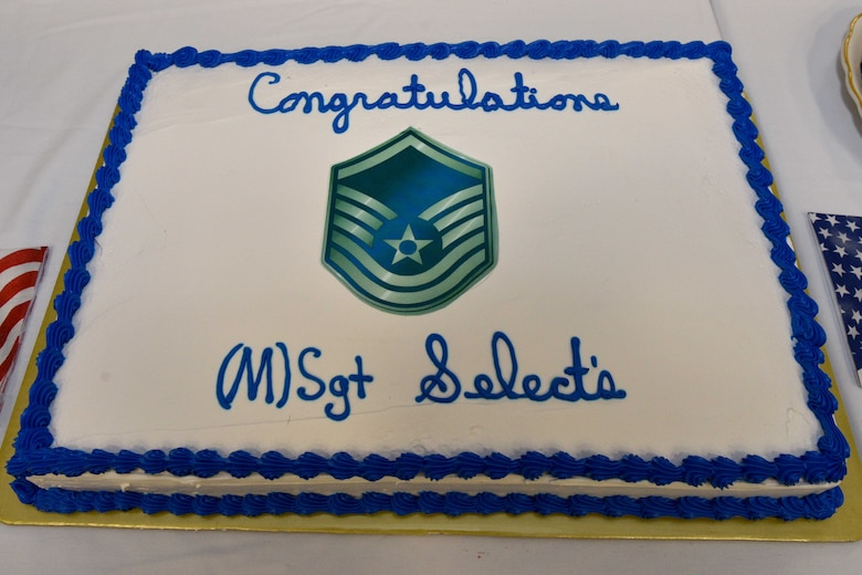 A cake congratulates the Master Sergeant selects during a release party at the Event Center Goodfellow Air Force Base, Texas, May 23, 2018. Goodfellow held the party to notify the selected promotees and to give fellow wingmen and friends an opportunity to congratulate them on their success. (U.S. Air Force photo by Senior Airman Randall Moose)