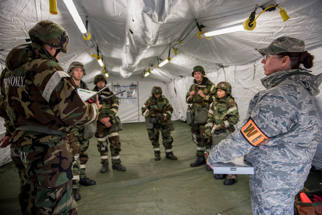 Air Guardsmen of the 176th Wing participate in a Mission Assurance Exercise at Joint Base Elmendorf-Richardson.