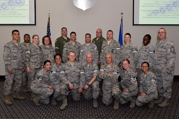 Goodfellow Air Force Base Master Sergeant selects stand with base leadership during a release party at the Event Center on Goodfellow Air Force Base, Texas, May 25, 2018. Congratulations to all Master Sergeant selects. (U.S. Air Force photo by Senior Airman Randall Moose)
