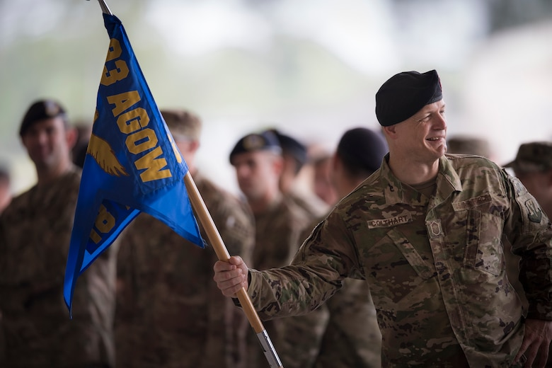 Chief Master Sgt. Michael Colthart, 18th Air Support Operations Group chief enlisted manager, waits for the start of a change of command ceremony, May 23, 2018, at Moody Air Force Base, Ga. The event marks the beginning of a new regime as Col. Paul Birch becomes the 7th commander of the 93d Air Ground Operations Wing and its battlefield Airmen. (U.S. Air Force photo by Staff Sgt. Ryan Callaghan)