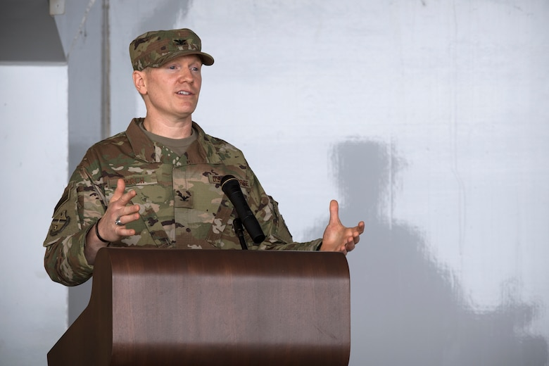 Col. Paul Birch, incoming 93d Air Ground Operations Wing commander, gives remarks at the AGOW change of command ceremony, May 23, 2018, at Moody Air Force Base, Ga. The event marks the beginning of a new regime as Birch becomes the 7th commander of the Wing and its battlefield Airmen. (U.S. Air Force photo by Staff Sgt. Ryan Callaghan)