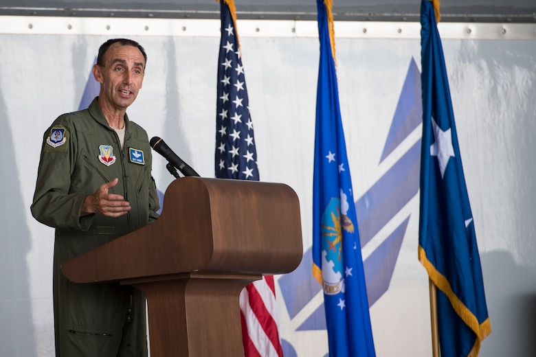 "U.S. Air Force Maj. Gen. Scott J. Zobrist, 9th Air Force commander, speaks during an award ceremony, May 23, 2018, at Moody Air Force Base, Ga. The ceremony was held to honor Maj. Matthew ""Chowder"" Cichowski and Capt. William ""Archer"" Dana, 74th Fighter Squadron A-10 Thunderbolt II pilots, who each received a Distinguished Flying Cross. The first DFC was awarded to Capt. Charles A. Lindbergh, U.S. Army Corps Reserve, for his solo flight across the Atlantic in 1927. (U.S. Air Force photo by Senior Airman Janiqua P. Robinson)"