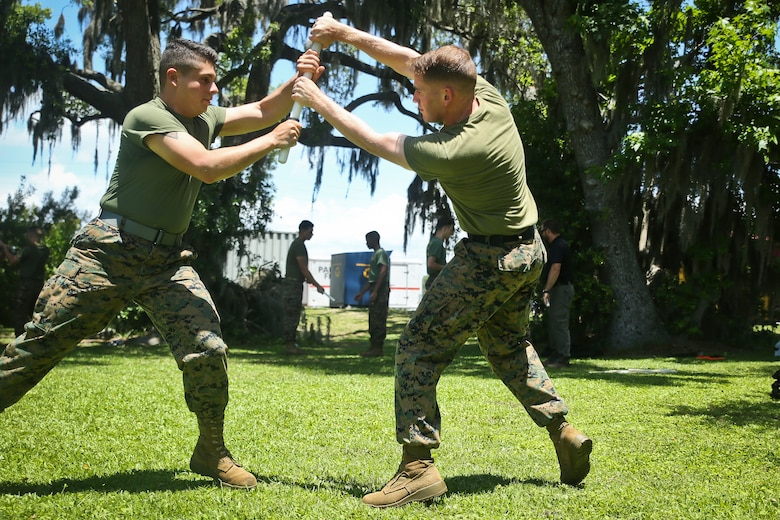 Marines conduct weapons retention training aboard Marine Corps Recruit Depot Parris Island May 23. SAF is a detail of Marines selected to assist the Provost Marshal's Office with security in emergency situations. The Marines are with the Headquarters and Headquarters Squadron.
