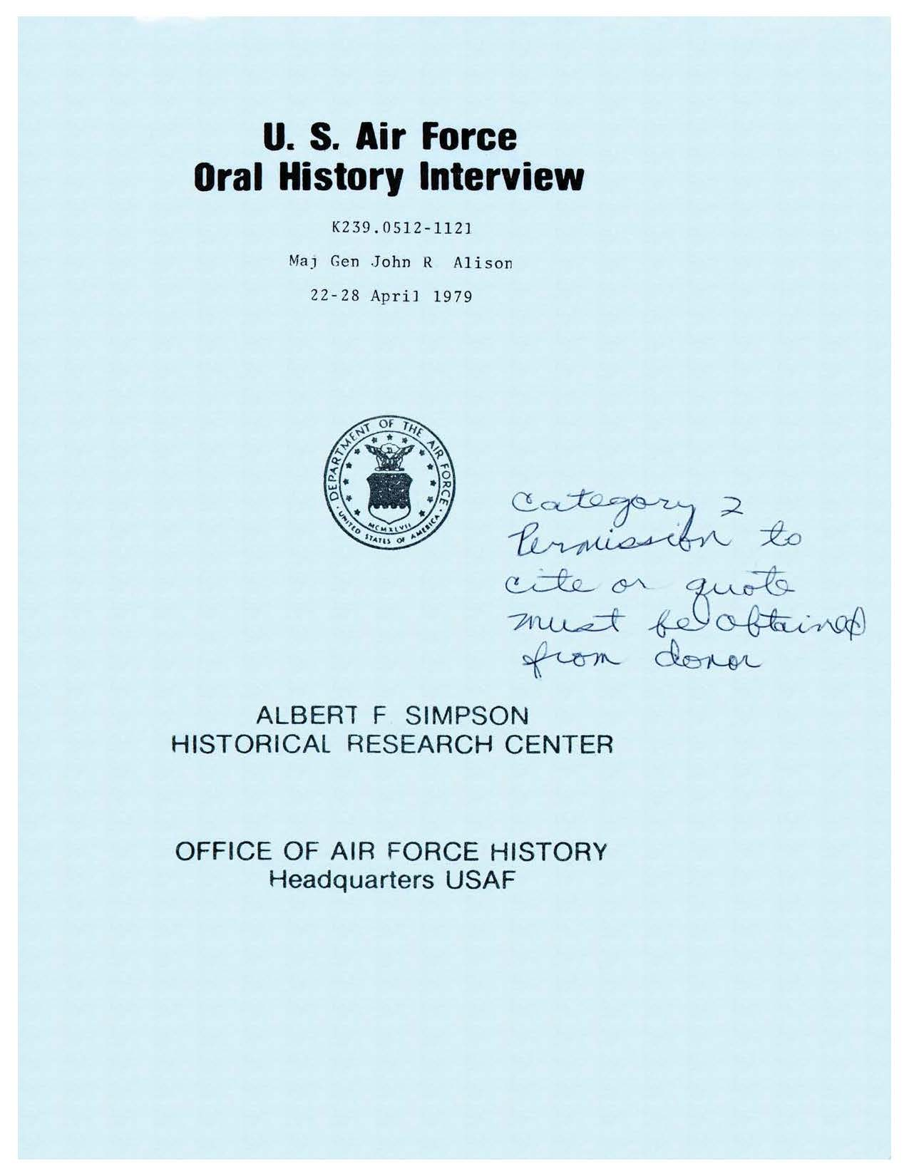 Historical Interview Johnny Alison Air Force Special Operations