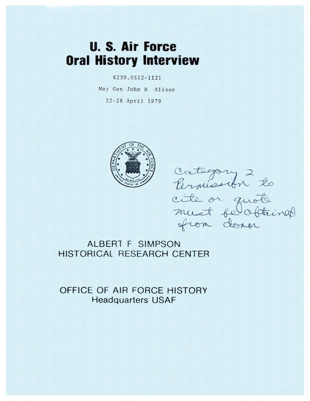 Cover of oral history interview conducted by the Air Force Historical Research Center in 1979.